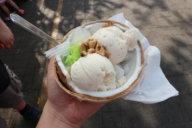 Kokosnusseis mit süßem Klebreis, Kondensmilch und Erdnüssen - natürlich in einer Kokosnussschale